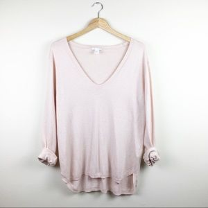 H&M Basic Cozy Blush Knit V Neck Sweater EUC Med